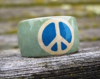 Ocean Peace Symbol -- adjustable wood ring
