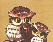 "Owl Family Watercolor 5"" X 7"" print by Lois Mae Thayer (1915-2008) UNFRAMED"