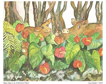 Vintage Hawaiian Print Baby Pigs in an Anthurium Patch by Artist Guy Buffet 1979
