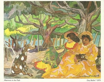 Vintage Hawaiian Print Afternoon in the Park by Artist Guy Buffet 1979