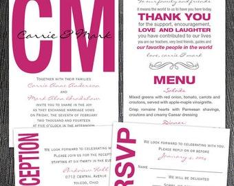 Custom Modern Monogram Wedding Invitations