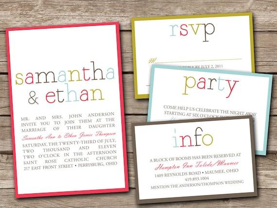 Custom Colorblock Wedding Invitations