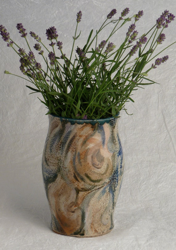 Beautiful hand painted soda fired vase