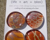 Orange Deco Handmade Glass Magnets
