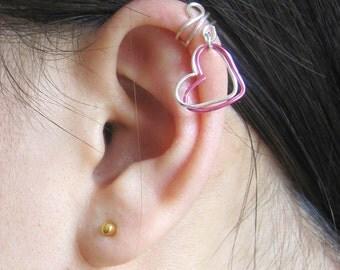 Valentine's Day, Heart Ear Cuff, Double Heart Ear Cuff, Cuff Earring, Silver Ear Cuff, Silver plated earrings, hypoallergenic earrings