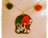hand drawn and colored necklace rockabilly,punk,rock