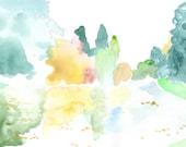 Bois de Vincennes  art print - forest painting - watercolor