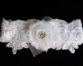 Vintage White Lace Garter with a Crystal Center Chiffon Rosette Flower