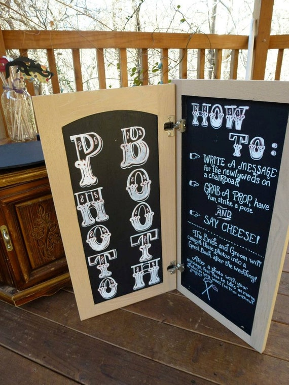 Fold open photo booth chalkboard- perfect for DIY wedding photo booth