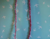 Pink leather and Silver plaited necklace