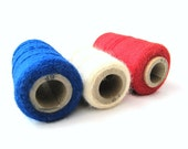 RESERVED FOR SHAIMA -Red, White, and Blue Vintage Yarn Embroidery Thread Lot of 3 Made by Pretty Punch Shoppettes, inc.