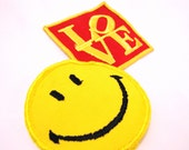 Vintage LOVE patch and Smiley Face patch from the 1980s Hippie cool decor for backpack. Halloween