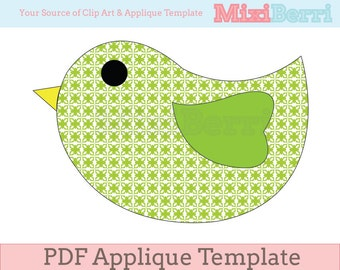 Cute Bird Applique Template PDF Instant Download