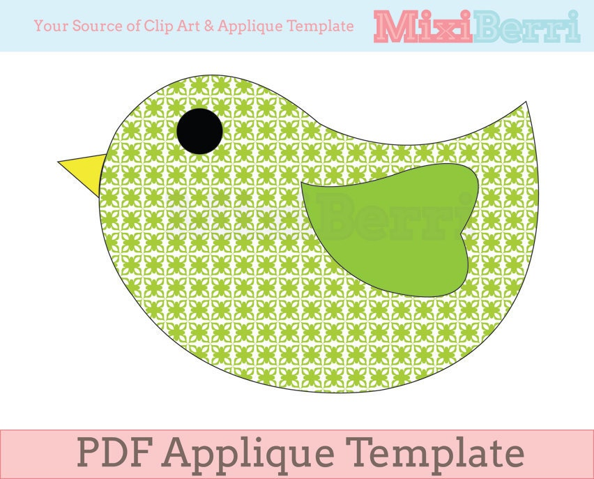 Cute Bird Applique Template PDF Instant Download – Bird Template