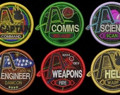Set of Six Iron-on Station Patches for Artemis Spaceship Bridge Game