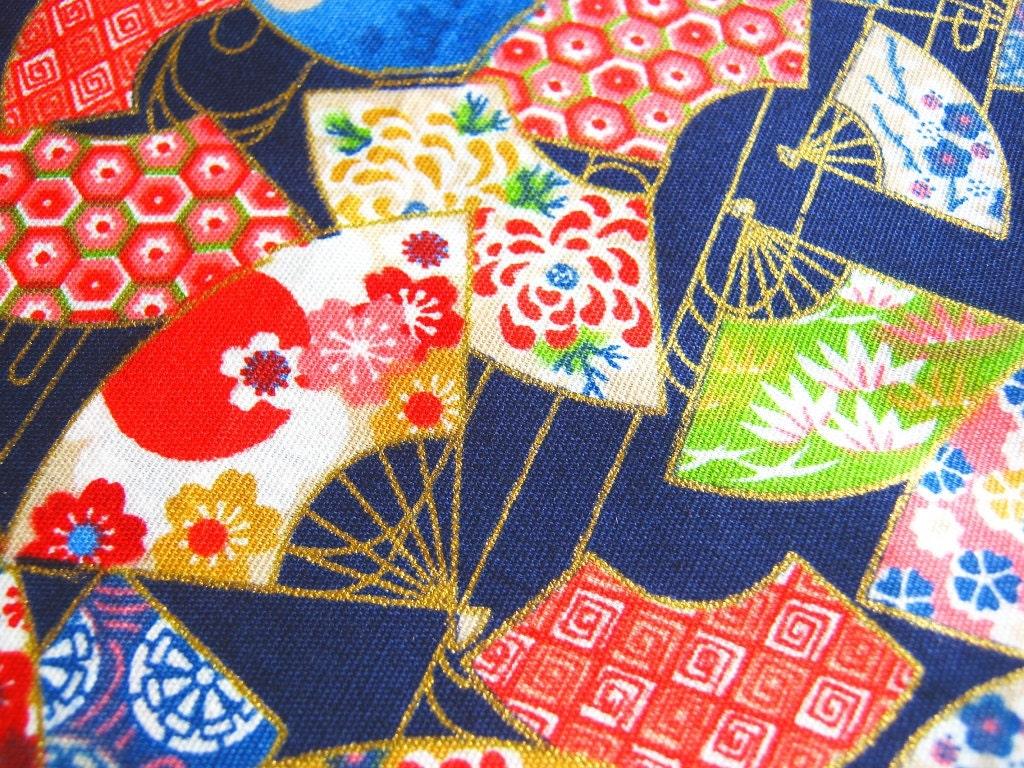 Japanese Fan Cotton Kimono Fabric Traditional Fan By Peacyfabrics