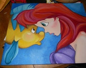Ariel and Flounder The Little Mermaid Oil Painting Disney