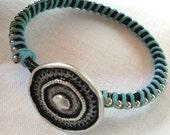 Teal Ball Chain Silver Button Bracelet