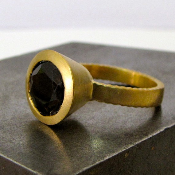 18K Gold Plated Ethnic Onyx Ring