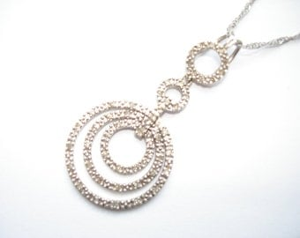 Italian Made Diamond and Sterling Silver Necklace