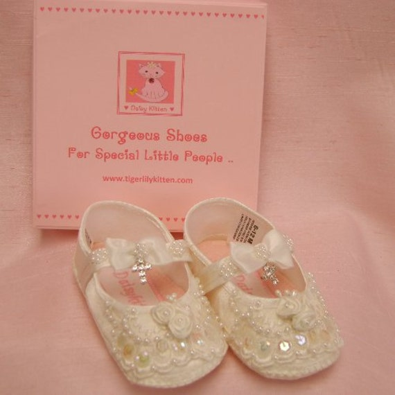 Baby shoes girls christening beaded with diamante cross ivory