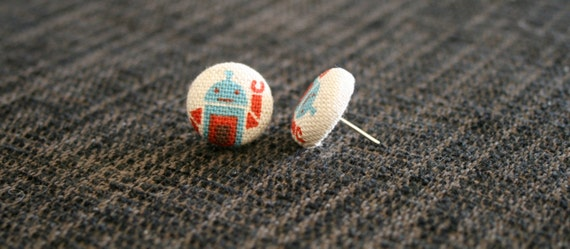 ROBOT - Fabric Covered Button Earrings - Red & Blue Robots