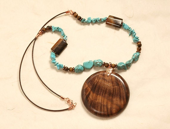 Bold and Stylish Pendant Necklace - Walnut - Turquoise - Copper