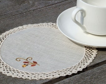 Handmade crocheted napkins set of 6 napkins eco friendly natural linen with emroidered pattern