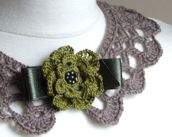 Crocheted collar taupe with flower brooch Vintage inspired collar detachable collar handmade