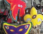 New Orleans ornament: Saints Fleur de Lis, crab or mardi gras mask plush felt handmade