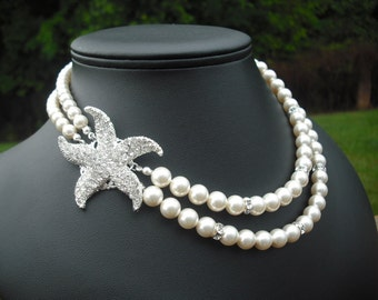 Bridal necklace, bridesmaid necklace, STARFISH Version 3, Beach Theme, Bridal Necklace, Rhinestone and Pearl Necklace, Wedding Jewelry
