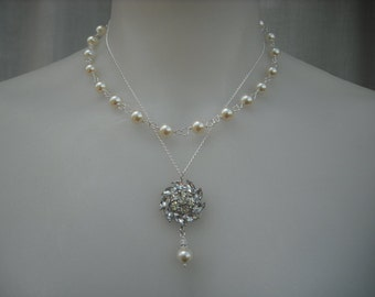 Emma Collection, Double Strands Necklace, Bridal Necklace, Rhinestone and Pearl Necklace, Vintage Style Bridal, Wedding Jewelry