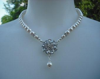 Emma, Rhinestone Center Necklace, Bridal Necklace, Rhinestone and Pearl Necklace, Vintage Style Bridal Necklace, Wedding Jewelry