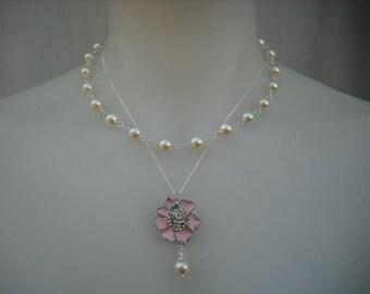 Hannah, Double Strands Rhinestone Necklace, Bridal Necklace, Rhinestone and Pearl Necklace, Vintage Style Bridal, Wedding Jewelry