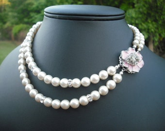 Hannah Collection, Bridal Necklace, Rhinestone and Pearl Necklace, Vintage Style Bridal Necklace, Wedding Jewelry