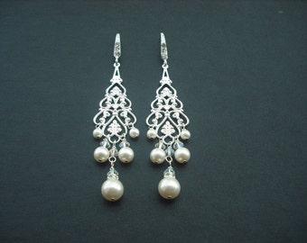 Rhinestone Pearl filigree earrings,  Bridal Earrings, Bridal Jewelry, Weddng Jewelry