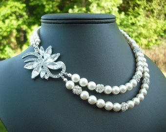 Alexis, Bridal Necklace, Rhinestone and Pearl Necklace, Double Strand Art Deco Vintage Style Bridal Necklace, Wedding Jewelry