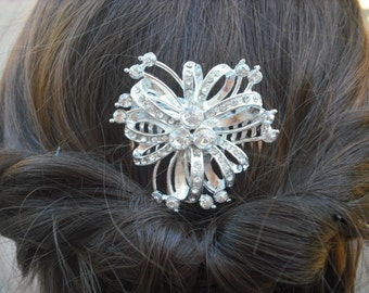 Layla, Bow with Flowers Rhinestone Hair Comb, Art Deco Bridal Hair Comb, Vintage Style Hair Accessories, Wedding Hair Comb