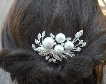 Trinity Collection, Art Deco Rhinestone With Pearl Hair Comb, Bridal Hair Comb, Vintage Style Hair Accessories, Wedding Hair Comb