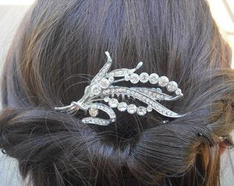 Bailey, Victorian Art Deco Rhinestone Leaf Hair Comb, Bridal Hair Comb, Vintage Style Hair Accessories, Wedding Hair Comb