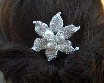 Stella, Art Deco Rhinestone flower With Pearl Hair Comb, Bridal Hair Comb, Vintage Style Hair Accessories, Wedding Hair Comb