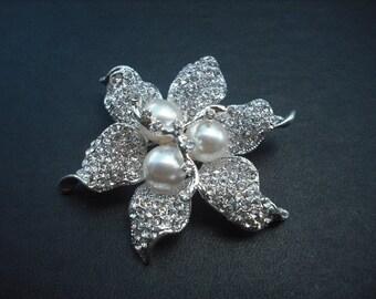 Stella Collection, Rhinestone Brooch, Art Deco Rhinestone Flower with Pearl Vintage Style Bridal Brooch, Wedding Jewelry
