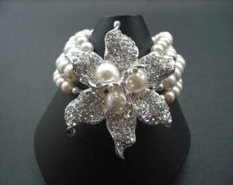Stella, Four Strands Bridal Bracelet, Art Deco Rhinestone amd Pearl Bracelet, Vintage Style Bridal Jewelry, Weddng Jewelry