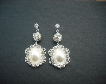 SALE - Allison, Bridal Earrings, Long Rhinestone Crystal and Pearl Earrings, Art Deco Vintage Style Bridal Earrings, Weddng Jewelry