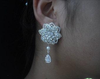 SALE - Sarah, Bridal Earrings, Long Rhinestone Filigree Crystal Earrings, Art Deco Vintage Style Bridal Earrings, Weddng Jewelry
