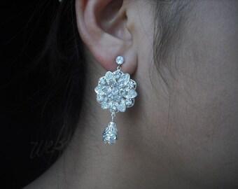 Zoey Collection, Bridal Earrings, Art Deco Rhinestone flower Crystal Post earrings, Vintage Style Bridal Earrings, Weddng Jewelry