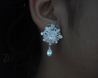 Claire Collection, Bridal Earrings, Rhinestone Crystal Earrings, Art Deco Vintage Style Bridal Earrings, Weddng Jewelry