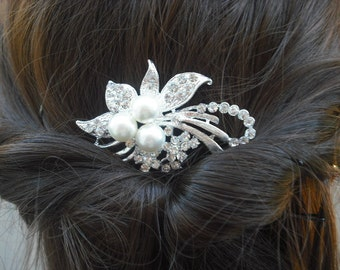 Bella Collection, Art Deco Rhinestone With Pearl Hair Comb, Bridal Hair Comb, Vintage Style Hair Accessories, Wedding Hair Comb