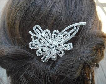 Alexandra, Art Deco Rhinestone With Pearl Hair Comb, Bridal Hair Comb, Vintage Style Hair Accessories, Wedding Hair Comb