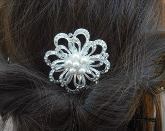 Ariana, Art Deco Rhinestone flower With Pearl Hair Comb, Bridal Hair Comb, Vintage Style Hair Accessories, Wedding Hair Comb